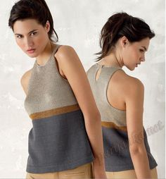 Phildar colourblock knit top (grey, brown, beige)