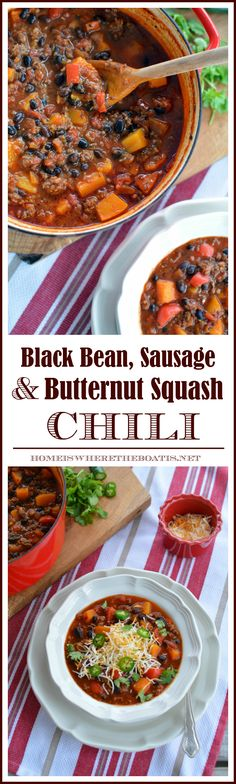 Black Bean, Sausage and Butternut Squash Chili | homeiswheretheboatis.net