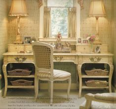 I love this perfect nook for a desk/make-up area with the perfect window for lighting; Charles Faudree