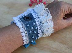 Denim Cuff Bracelet, Recycled Jewelry, Boho Bracelet with Pink Lace, Jeans Bracelet with Lace, Boho Hippie Jewelry Denim Bracelet, Bracelet Crafts, Crochet Bracelet, Jewelry Crafts, Cuff Bracelets, Boho Hippie, Hippie Jewelry, Recycled Jewelry, Handmade Jewelry