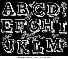 Vector set with hand written ABC letters in black background - stock vector Chalkboard Lettering, Chalkboard Signs, Chalkboards, Penmanship, Black Paper, Chalk Art, Cool Fonts, Handwriting, Alphabet