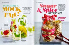 Magazine Design Inspiration, Magazine Layout Design, Brochure Examples, Brochure Design, Page Layout, Layouts, Mint Water, Magazine Spreads, Snack Recipes