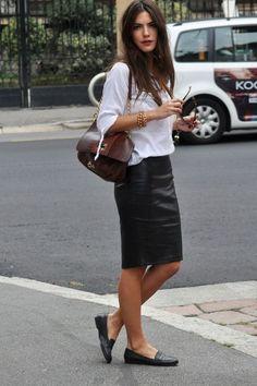 white shirt + leather skirt + comfy mocs