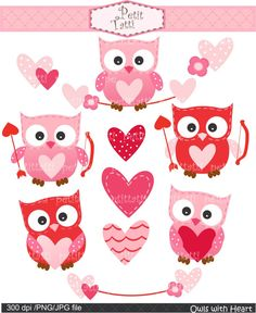 Digital clip art for all use,Owls with heart, owls clip art, pink, red, valentine clip art, cupid. $4.80, via Etsy.