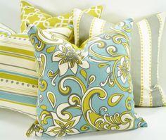 Decorative Pillow Cover - Loni - 18x18 - Green - Blue - Natural - Hidden Zipper - Floral - Paisley - Throw Pillow - Accent Pillow. $28.00, via Etsy.