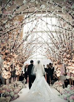 cherry blossom wedding aisle decorations for winter wedding ideas