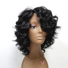 Wedding Hairstyles For Long Hair Handmade Cap Wig - HH Patricia - premium human hair. french soft deep wave in natural black. Can be parted to different direction. Short Bob Hairstyles, African Hairstyles, Braided Hairstyles, Black Hairstyles, Straight Haircuts, Long Haircuts, Hairstyles Pictures, Hairstyles 2018, Wedding Hairstyles