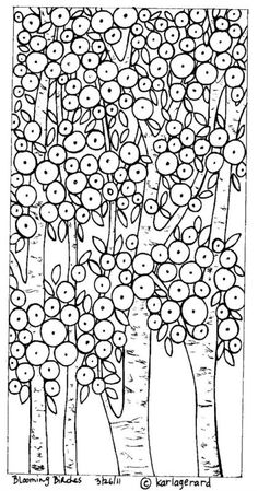 RUG HOOK PAPER PATTERN Blooming Birches Folk Art KarlaG | eBay