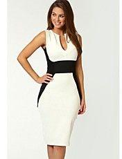 Ladylike Style Polyester Color Block Beam Waist Sleeveless Bodycon Knee Length Dress For Women Tight Dresses, Cute Dresses, Dresses For Work, Sheath Dresses, Women's Dresses, Ladylike Style, Moda Chic, Colorblock Dress, Mi Long