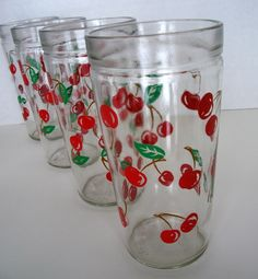 Vintage Set of 4 Drinking Glasses with Cherries by vintagemelody, $20.00