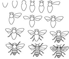 Drawn bee line drawing - pin to your gallery. Explore what was found for the drawn bee line drawing Drawing Tutorials For Kids, Drawing For Kids, Art Tutorials, Flower Drawing Tutorials, Children Drawing, Drawing Lessons, Art Lessons, Drawing Tips, Drawing Techniques