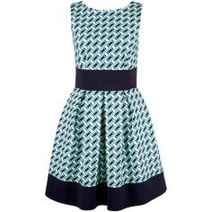 Closet Contrast Geometric Hem Skater Dress, Multi ($76) ❤ liked on Polyvore featuring dresses, blue midi dress, skater skirt dress, blue maxi dress, blue dress and mini dress