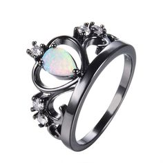 Princess Fire Opal Crown Ring