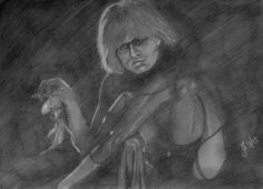Daryl Hannah as Pris in 'Blade Runner'.  Freehand sketch using HB pencil and eraser on 100gsm paper