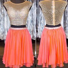 See-through Homecoming Dresses,2 Piece Short Prom Dresses,Shinny Cockt - SheerGirl