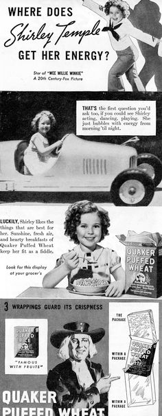 Shirley Temple for Quaker Puffed Wheat 1937