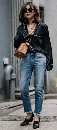#streetstyle #casualoutfits #spring | Navy Pajama Blouse + Denim | Z Hours