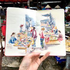 Fish Market at Hoian, Vietnam Vietnam, Ted, Sketches, Urban, Fish, Tote Bag, Bags, Drawings, Handbags