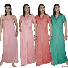 HAUTIE WOMENS LADIES NIGHTIES SATIN LONG DRESSING GOWN BATHROBE TWIN SET 10-16 in Clothes, Shoes & Accessories, Women's Clothing, Lingerie & Nightwear | eBay