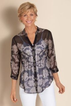 Fresco Shirt - Ladies 3/4 Sleeve Shirt, Floral Top, Crinkled Chiffon Shirt | Soft Surroundings