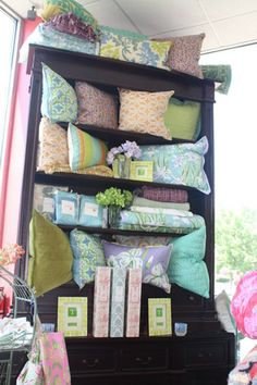 Pillows in a hutch display at Clay & Cotton at their store in Louisville, KY., Retail Details Blog, Swirlmarketing.com