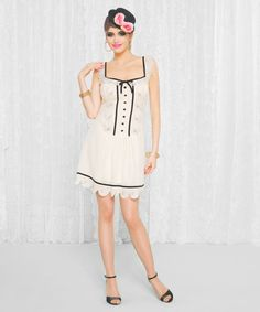 Betsey Johnson - Elegant Embroidered Organza Drop Waist Dress