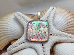 Pink Shimmer  Dichroic Fused Glass Jewelry by RyanstonesFusedGlass, $20.00