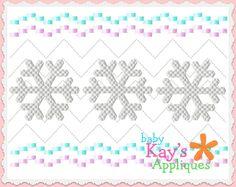 Baby Kay's Appliques - Snowflake Faux Smock 4x4, 7x3, 7x5, $1.00 (http://www.babykaysappliques.com/snowflake-faux-smock-4x4-7x3-7x5/)