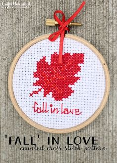 Fall in Love Cross Stitch Pattern from Crafts Unleashed