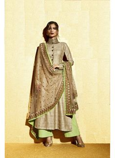 Elegant Lime Green and Cream Khadi Designer Suit