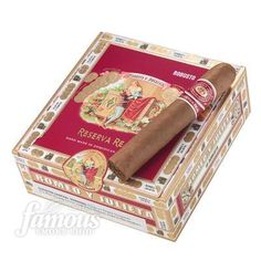 Romeo y Julieta Reserva Real cigars are true luxury cigars made with a beautiful hand-selected, aromatic Ecuadorian Connecticut wrapper, Nicaraguan binder, and a vintage blend of Dominican and Nicaraguan tobaccos. The result is a well-balanced, medium-to-full-bodied smoke designed to arouse the senses of even the most demanding cigar smoker. Add a box of this highly-rated Romeo Y Julieta cigars selection to your humidor for those special occasions.
