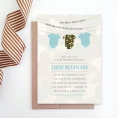 PRINTABLE Camo Onesie Baby Shower Invitation by RebekahDischDesign