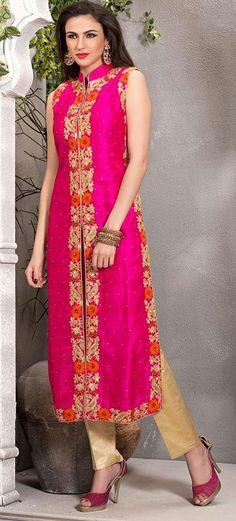 Pink Art Raw Silk Designer Salwar Kameez 43112
