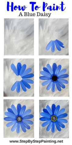 Flower Painting Discover Daisy Painting - Step By Step Painting - Tutorial for Beginners Learn how to create a beautiful blue daisy painting. This is an EASY acrylic canvas tutorial for the absolute beginner. Simple Canvas Paintings, Watercolor Paintings For Beginners, Easy Canvas Art, Canvas Painting Tutorials, Easy Canvas Painting, Beginner Painting, Acrylic Canvas, Creative Painting Ideas, Cute Easy Paintings