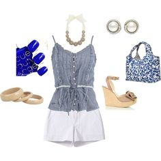SHORTS AND CUTE TANK!, created by paulette-lanni on Polyvore