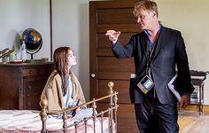 """Mackenzie Foy and director Christopher Nolan on the set of Interstellar (2014). """