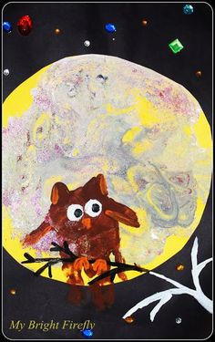 My Bright Firefly: M is for Moon. Halloween Art.