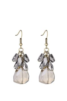 Crystal stone #earrings with polished glass beads, by #Esprit.