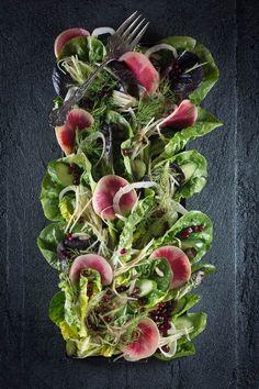Pickled Watermelon Radish, Sweet Greens, Fennel, & Pomegranate Salad ...