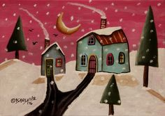 Fuschia Sky ORIGINAL Canvas Panel PAINTING FOLK ART 5 x 7 Houses Birds Karla G #FolkArtAbstractPrimitive