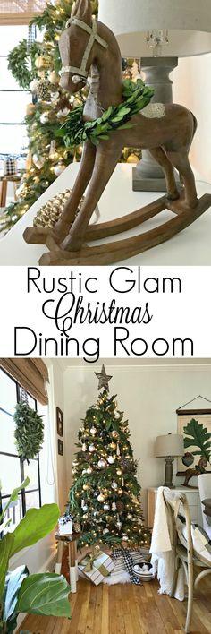 Holiday Home Tour – Christmas Dining Room #christmas #diningroom #rustic #glam