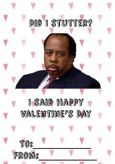 The Office Stanley Valentine card office valentines day cards stanley day cards funny the office Meme Valentines Cards, The Office Valentines, Happy Valentines Day, Valentine's Cards For Kids, Cards For Friends, Office Themed Party, Homemade Valentines, Diy Valentine, Party Planning