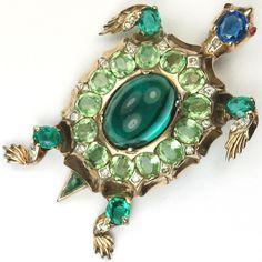 Trifari Sterling 'Alfred Philippe' Sapphire Emerald Cabochon and Peridot Turtle Pin Clip