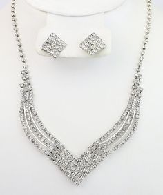 Look at this #zulilyfind! Silver & Gem Tri-Tapered Necklace & Earrings Set by By the Bay #zulilyfinds
