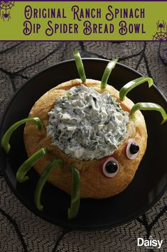 Put a Halloween twist on your favorite spinach dip with this Original Ranch Spinach Dip Spider Bread Bowl. Put a Halloween twist on your favorite spinach dip with this Original Ranch Spinach Dip Spider Bread Bowl. Halloween Party Snacks, Halloween Cocktails, Comida De Halloween Ideas, Halloween Taco Dip, Creepy Halloween Food, Hallowen Food, Fete Halloween, Halloween Dinner, Halloween Puppy