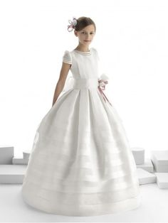 Ivory lace flower girl dress and first communion dress tulle dress