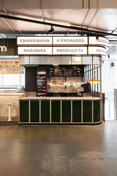 Ménard Dworkind Designed Two New Restaurant in Montreal's First Food Hall Hall Interior, Retail Interior, Restaurant Interior Design, Kiosk Design, Cafe Design, Retail Design, Food Court Design, Food Design, Bar Bistro