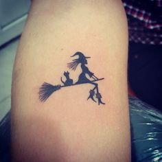 Tiny Witch Tattoo Silhouette