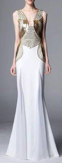 Zuhair Murad RTW Pre-Fall/Winter  2014-2015 white and gold gown