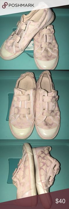 Woman's Coach Sneakers Shoes Pink size 9 These are really cute Coach shoes.  Pink with Velcro fasteners!  Great condition!  Size 9! Coach Shoes Athletic Shoes